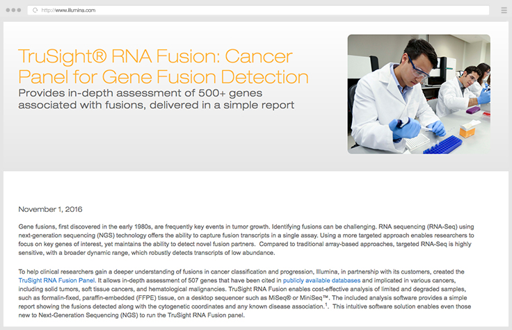 Comprehensive Panel for Gene Fusion Detection
